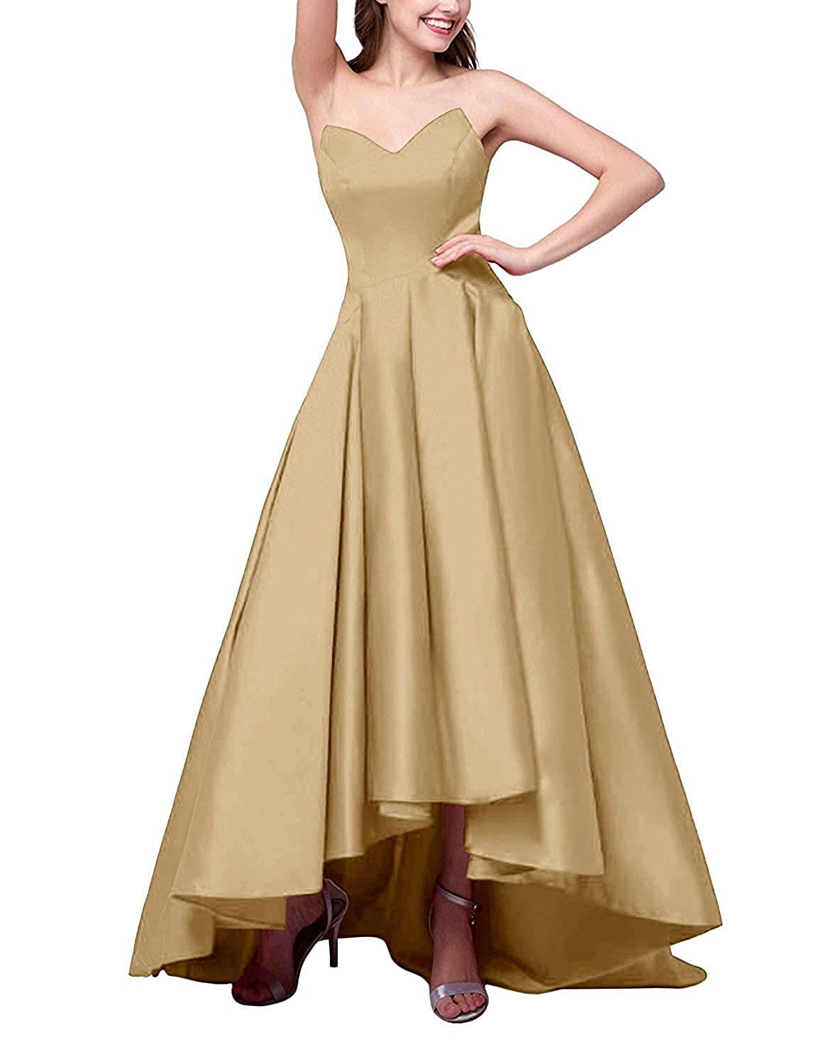 Champagne ZLQQ Women's V Neck Satin High Low Prom Dresses with Pockets Formal LongEvening Party Gowns