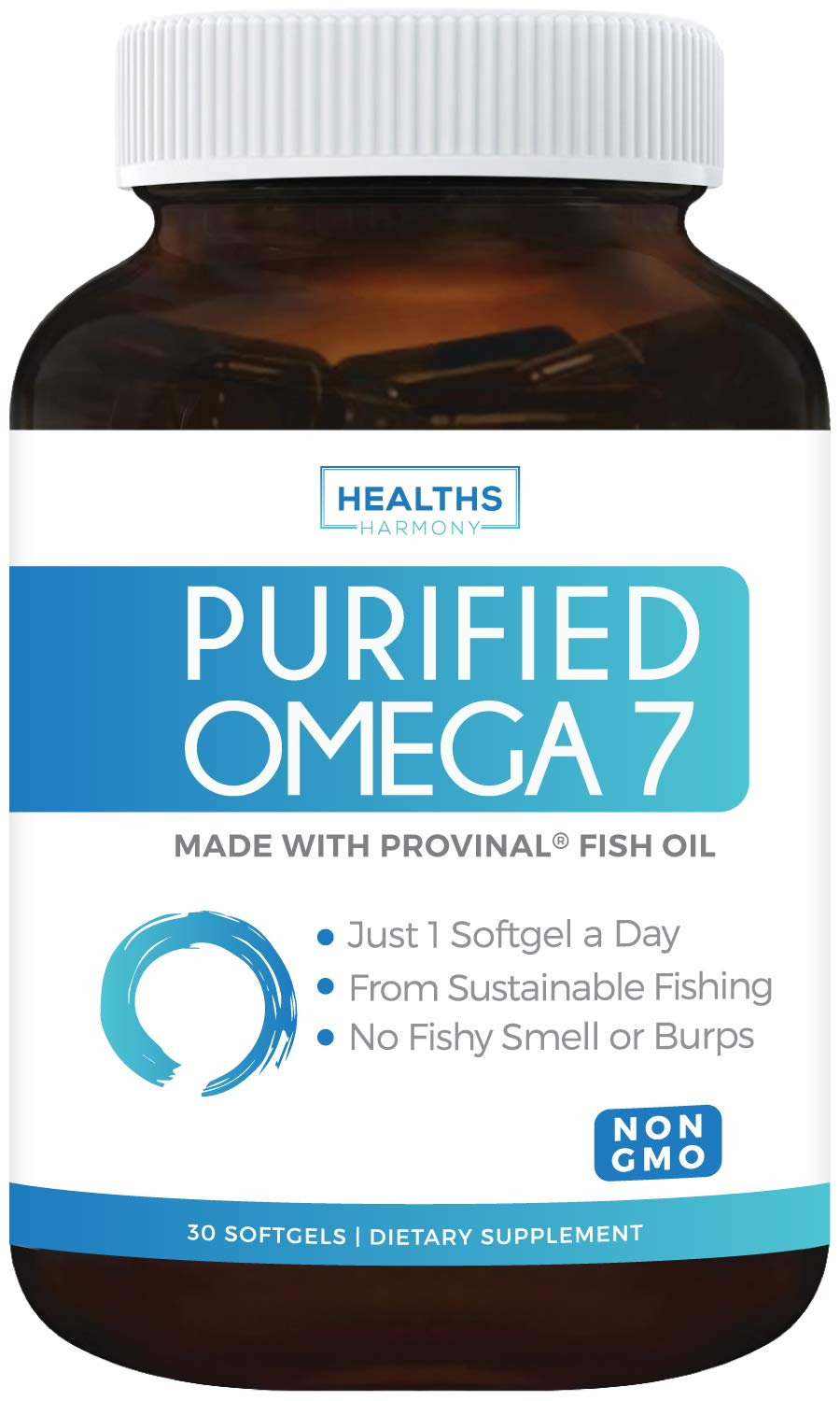 Purified Omega 7 Oil - Provinal Omega 7 (Non-GMO) All The Palmitoleic Acid EE Your Body Needs - Made from Peruvian Anchovy Fish - High Potency One Month Supply - 30 Softgels by Healths Harmony