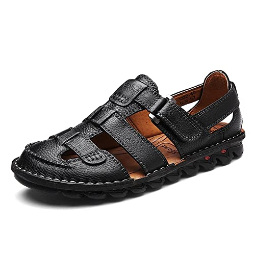 e2d96474592c Image Unavailable. Image not available for. Color  YING LAN Mens Closed Toe  Leather Sports Fisherman Sandals Summer Outdoor Beach Adjustable Strap Shoes