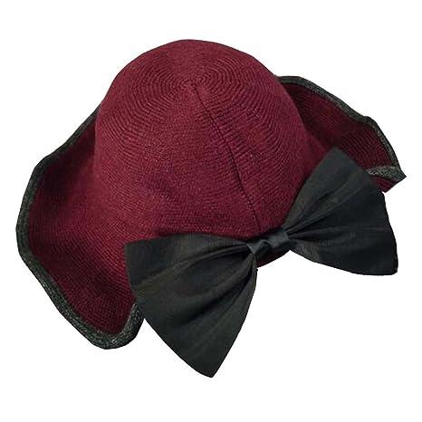 024d524cdb8 Amazon.com  DRAGON SONIC Red Beautiful knitting Floppy Hat Wide Brim Hat  Big Bowknot  Sports   Outdoors