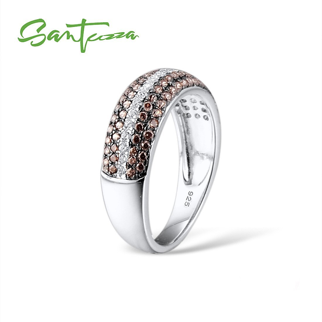 Santuzza 925 Sterling Silver Ring For Women Chocolate Cubic Zirconia Round Ring Party Fine Jewelry (6) by Santuzza (Image #4)