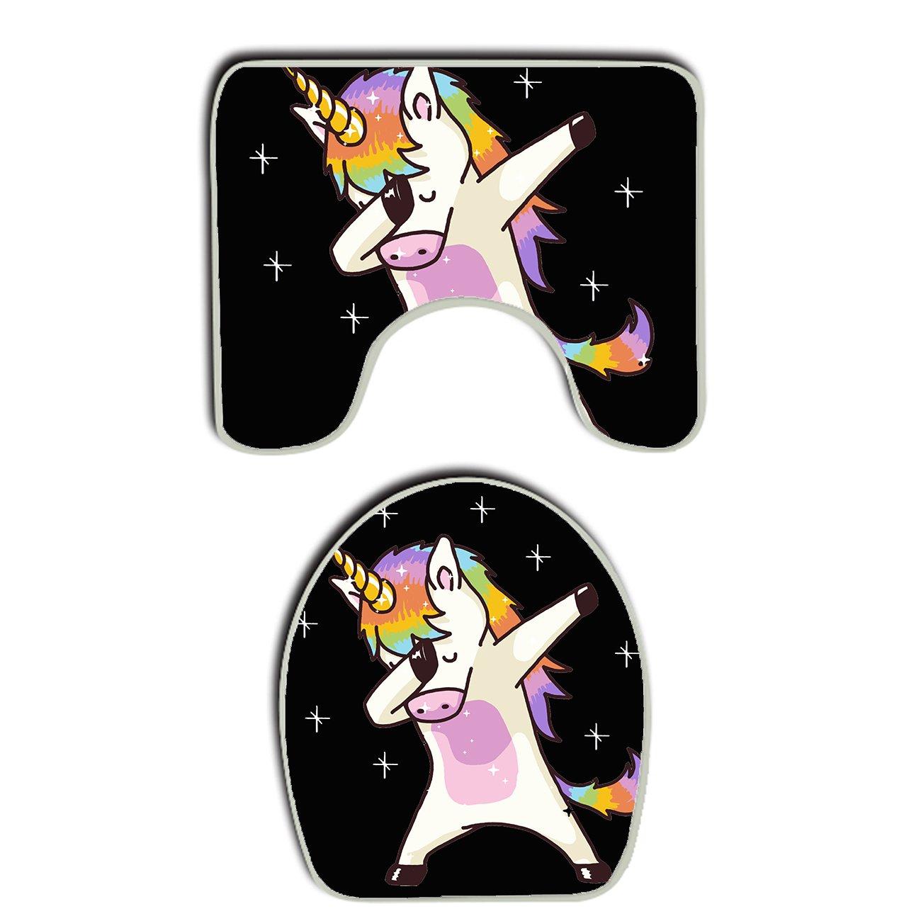 SWEET TANG Unicorn Cute Dabbing Funny Dab Dance Gift 2 Piece Set Soft Flannel Bathroom Rug U Contour Mat Lid Toilet Cover Non-slip