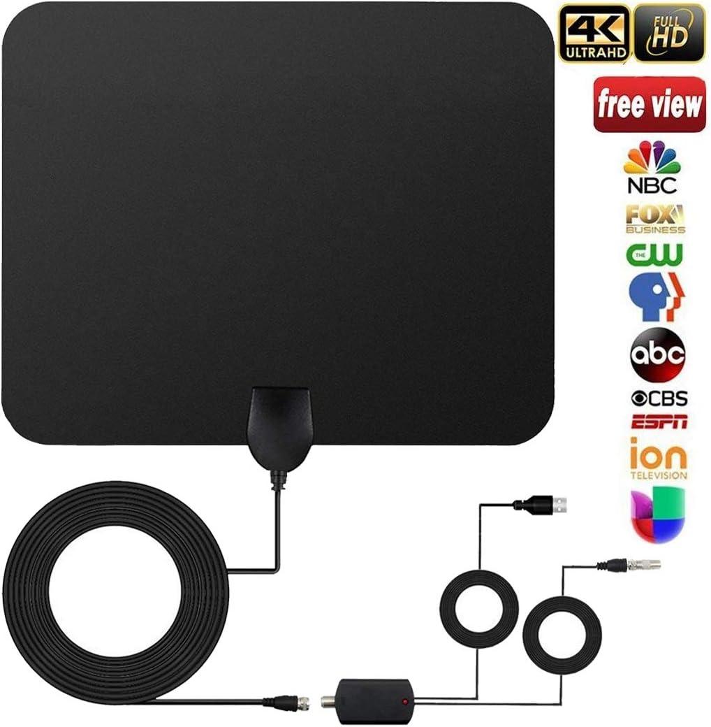 Antena TV Interior, versión 2018 Antena Interior TDT 60 Millas con Amplificador de Señal y Cable Coaxial DE 13.2 FT, Digital HDTV Antena Portatil para DVB-T TDT (Negro): Amazon.es: Electrónica