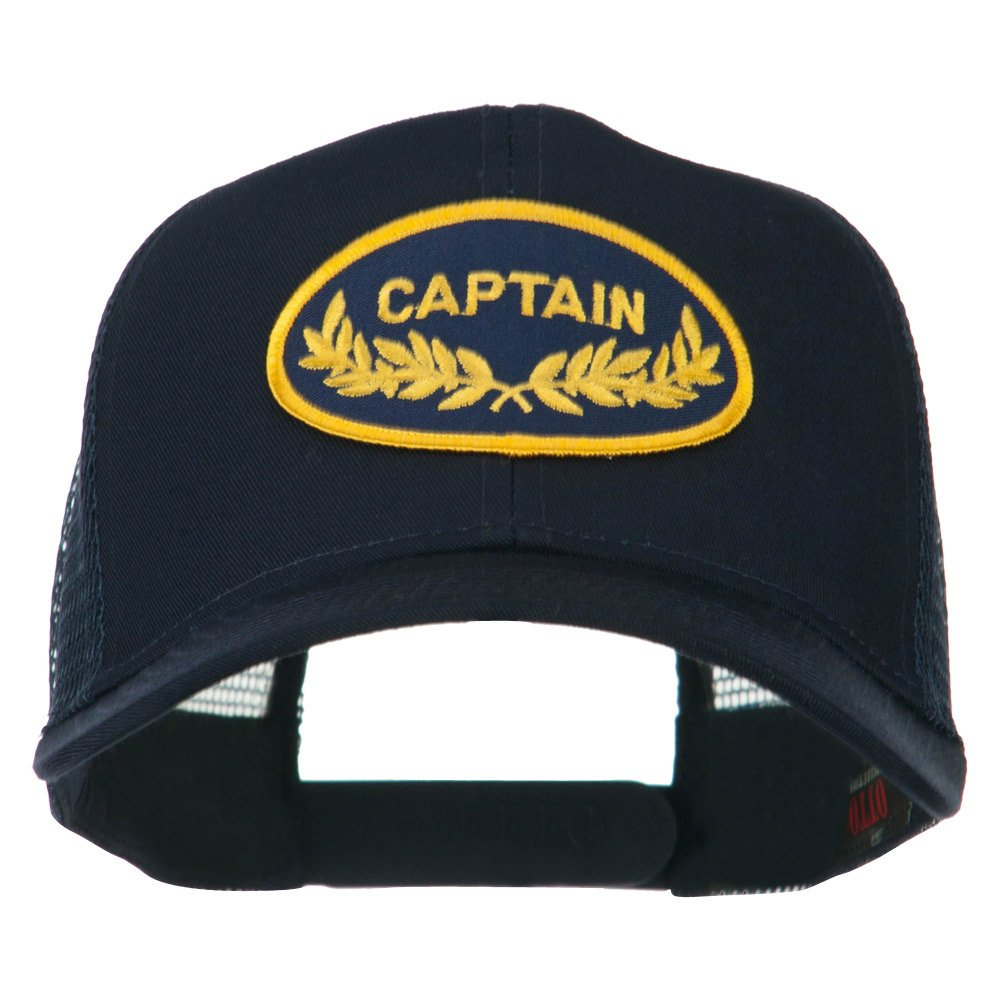 958cb6b594f Captain Oak Leaf Military Patched Mesh Back Cap - Navy OSFM at Amazon Men s  Clothing store