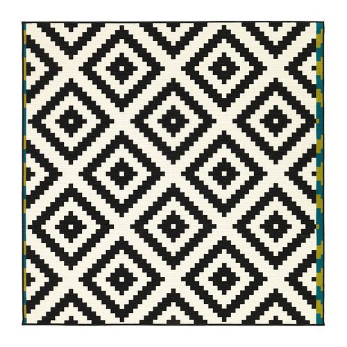 Ikea LAPPLJUNG RUTA Rug 6 ' 7 '' x 6 ' 7 '' low pile, white, black NIP New