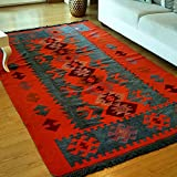Cheap Modern Bohemian Style Area Rug, 3.6 x 6 feet, Washable, Natural Dye Colors, Two-sided (reversable), Perfect for Kitchen, Hallway, Bathroom, Bedroom, Corridor, Living Room (Charcoal Grey-Orange)