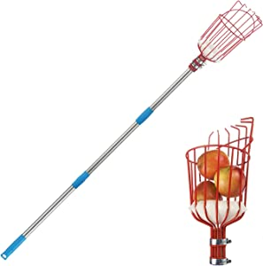 COCOHOME Fruit Picker Tool - Extension Fruit Picker Pole with Twist-on Basket, Adjustable Fruit Picker Collector for Lemon Apple Pear Mango Tree (13FT)