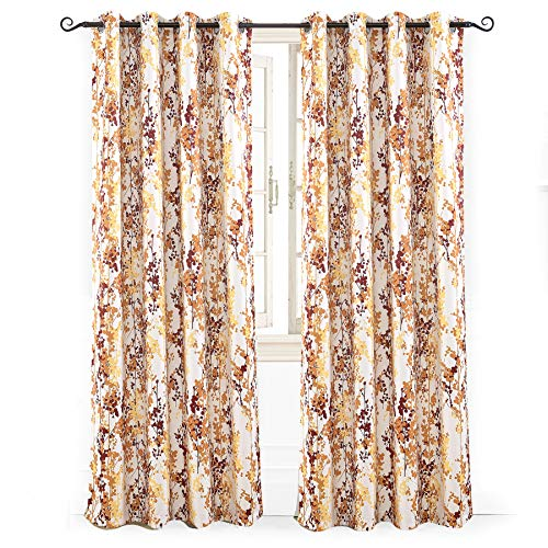 """DriftAway Leah Abstract Floral Blossom Ink Painting Room Darkening/Thermal Insulated Grommet Unlined Window Curtains, Set of Two Panels, each size 52""""x84"""" (Red/rust/Orange/Gold/Yellow)"""