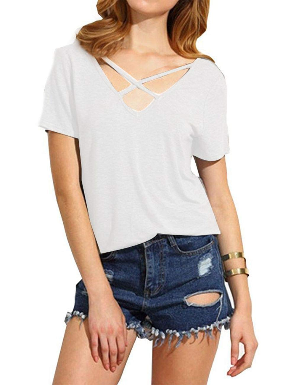 Women T-Shirt Short Sleeve Criss Cross Solid Color Tunic Tops Pullover Blouse (XXXL, White)