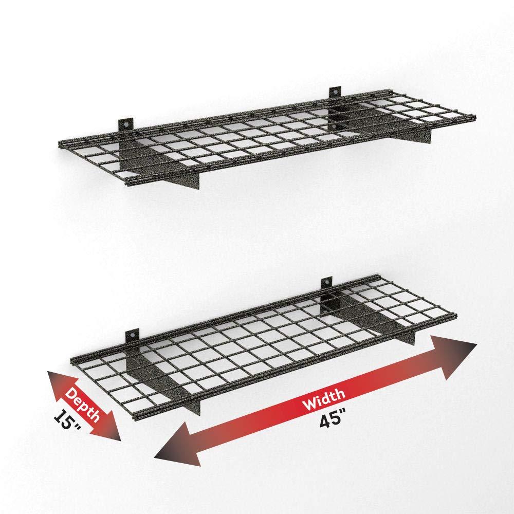 HyLoft 00651 45-Inch by 15-Inch Garage Wall Shelf Storage, Hammertone, 2-Pack by HyLoft