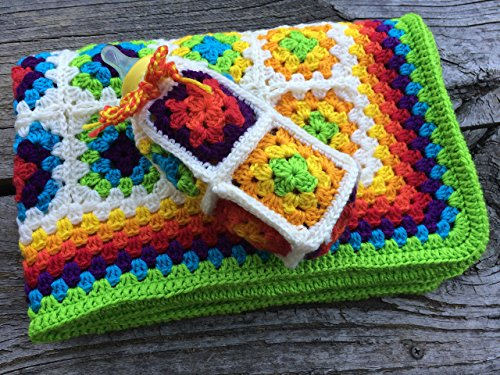 Baby Blanket. Rainbow Unisex Baby Blanket. Crocheted Blanket. Baby Afghan with Bonus Bottle Cosy. Celebrate Australia's YES to Same Sex Marriage. Free Shipping by BeautiWool Handmade