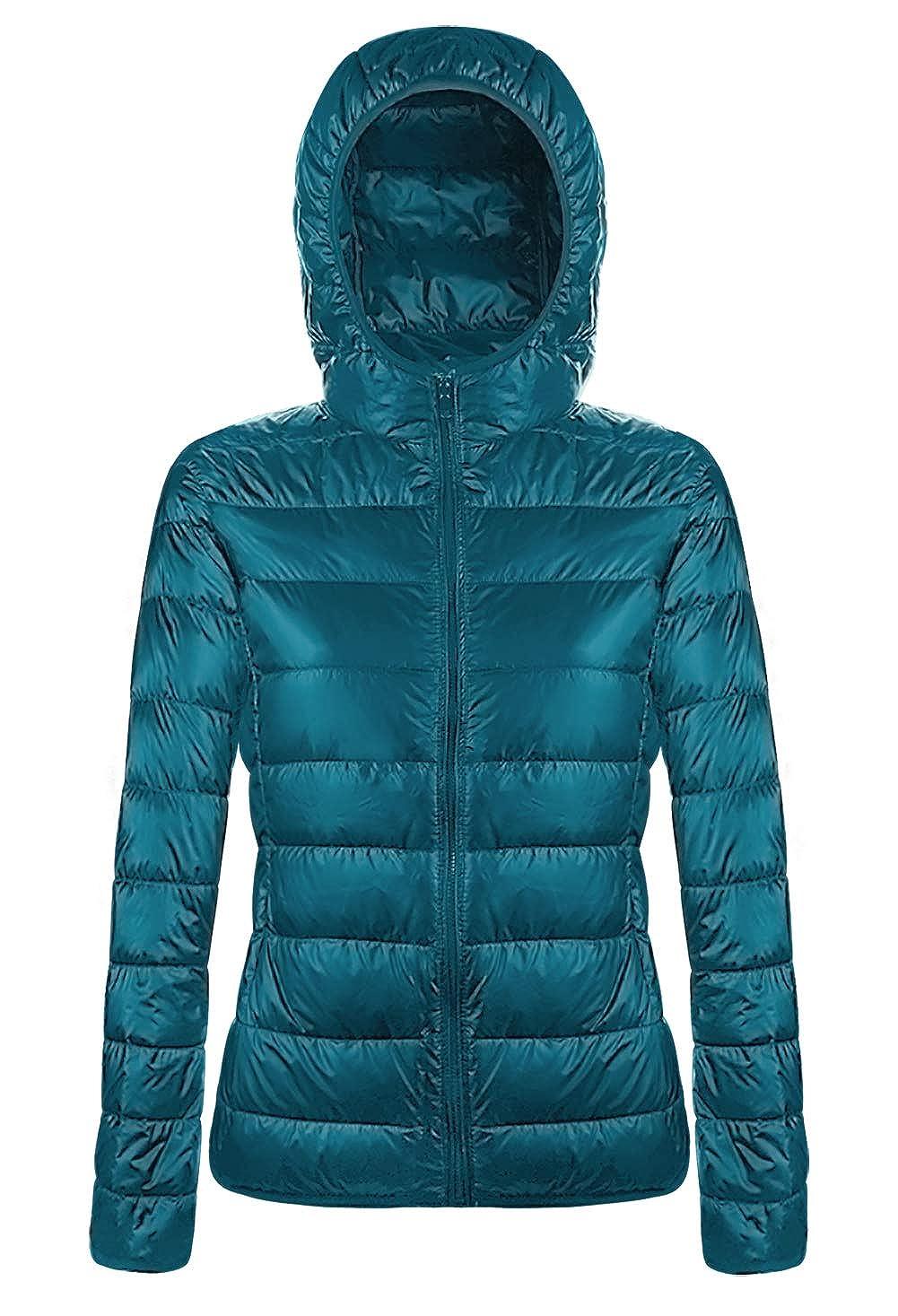 41d7872ffd80d6 Amazon.com: Aixy Womens Ultra Light Weight Packable Hooded Down Jacket  Short Puffer Coats: Clothing