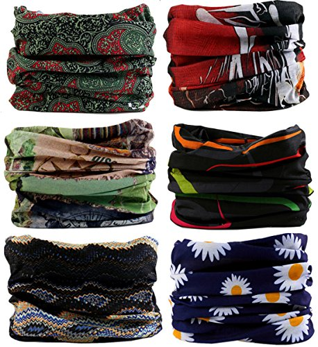 Kingree 6PCS Outdoor Magic Scarf, High Elastic Womens and Mens Headbands with UV Resistance, Headscarves, Headwear, Mask (Casual Style 2)