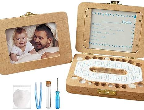 Kit de caja de dientes de bebé, caja de recuerdos de madera rectangular para dientes de bebé, caja de recuerdo con algodón, pinzas, tubo de pelo, calcomanía para ...