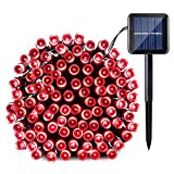 Qedertek Solar String Light, 33ft 100 LED 8 Modes Light Sensor Control Waterproof Decorative Ambiance Light For Patio, Lawn, Garden, Fence, Balcony, Party, Holiday, Christmas Decorations(Red)