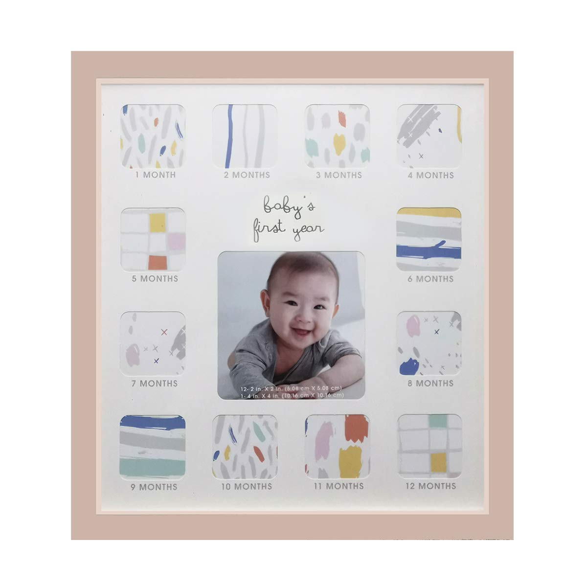 """Collage Photo Frame for Baby First Year Keepsake - 12 Months Picture Frames with Twelve 1.8"""" and One 4"""" Slots for Baby Present Memory Home Decoration, 12 x 13 inches (Pink)"""