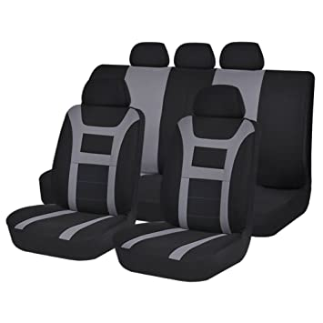 Black Grey Bucket Seat Covers Set Universal Airbag Safe Split Back Protector 11pcs