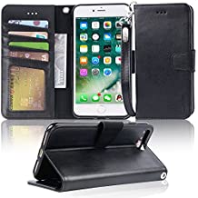 iphone 7 plus case, iPhone 8 plus case, Arae PU leather wallet Case with Kickstand and Flip Cover for iPhone 7 plus (2016) / iPhone 8 plus (2017) - Black