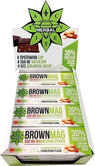 Cvetita Herbal BrownMag 30% barra de proteína con maní y ...