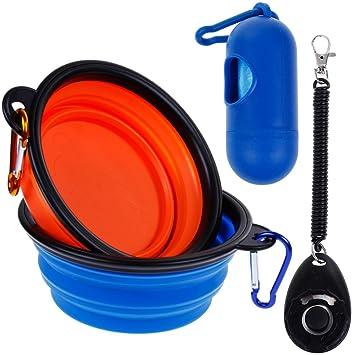 lictin 2 * mascotas comida plegable viaje näpfe Llave portátil agua cuenco para perro Forro comida