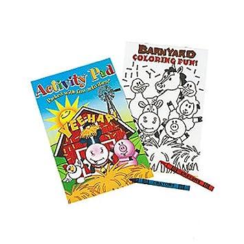 Amazon.com: Farm Animals Activity Pad With 2pk Crayon (1 Dozen ...