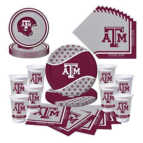 Texas A&M Aggies Party Bundle - Plates, Cups, Napkins - Serves -