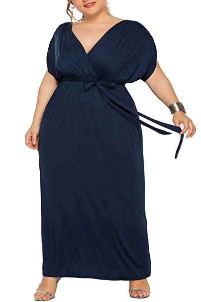 Holagift Women\'s Plus Size Maxi Dress V-Neck Belt Tie Stretchy Solid Loose  Casual Evening Party Bridesmaid Dresses