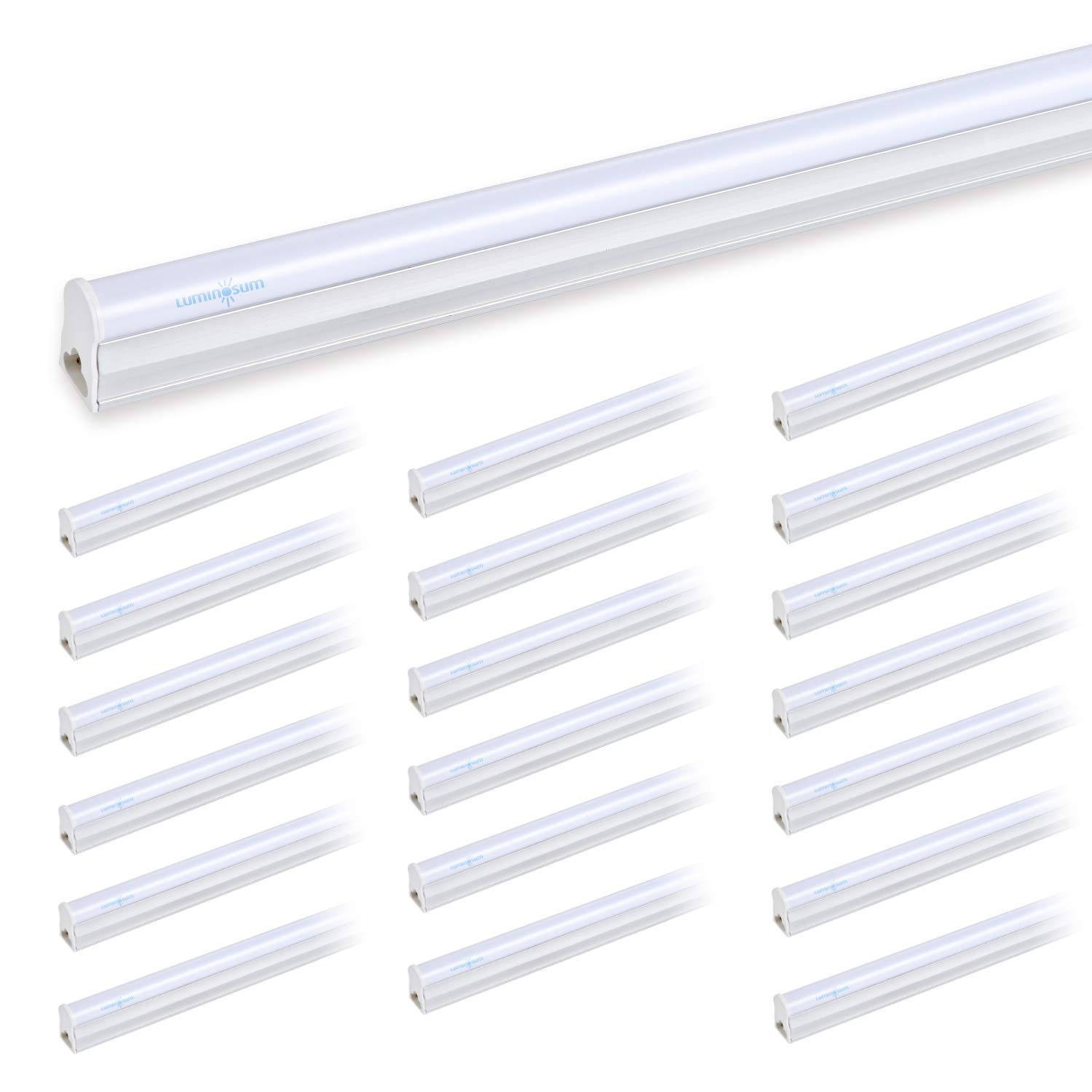 LUMINOSUM T5 LED Tube Light Integrated Single Fixture, 3FT 14W 1300lm, 6000k Cool White, Frosted Cover, Utility Shop Light, Ceiling and Under Cabinet Light, 20-pack