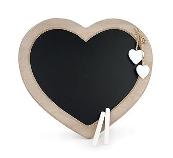 Lavagna in legno a forma di cuore, stile rustico, con gesso, 30 x ...