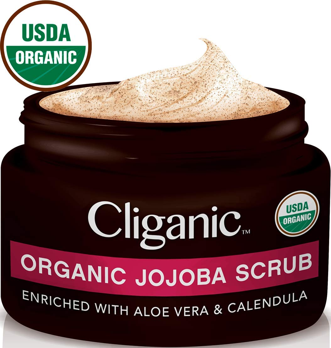 Cliganic USDA Organic Face Scrub, 100% Natural | Enriched with Jojoba, Aloe Vera & Calendula | Exfoliator for Sensitive, Dry Skin, Acne, Wrinkles & Body | Certified Organic (4oz)