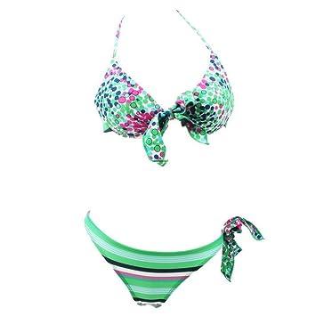 159075c8b589 Traje de baño de bikini Floral rayas de lazo de una pieza de corte ...