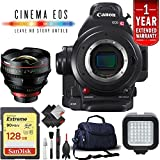 Canon EOS C100 Mark II Cinema Camera Body Only + 128GB Extreme SD Card Base Kit w/14mm Lens International Version -  6Ave