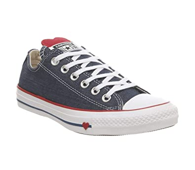 the best attitude 6afac 2ab54 Converse Chuck Taylor All Star, Sneakers Basses Femme, Bleu (Indigo Enamel  Red