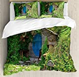 Hobbits Duvet Cover Set by Ambesonne, Fantasy Hobbit Land House in Magical Overhill Woods Movie Scene New Zealand, 3 Piece Bedding Set with Pillow Shams, King Size, Green Brown Blue