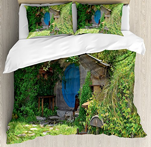 Hobbits Duvet Cover Set by Ambesonne, Fantasy Hobbit Land House in Magical Overhill Woods Movie Scene New Zealand, 3 Piece Bedding Set with Pillow Shams, Queen / Full, Green Brown Blue by Ambesonne
