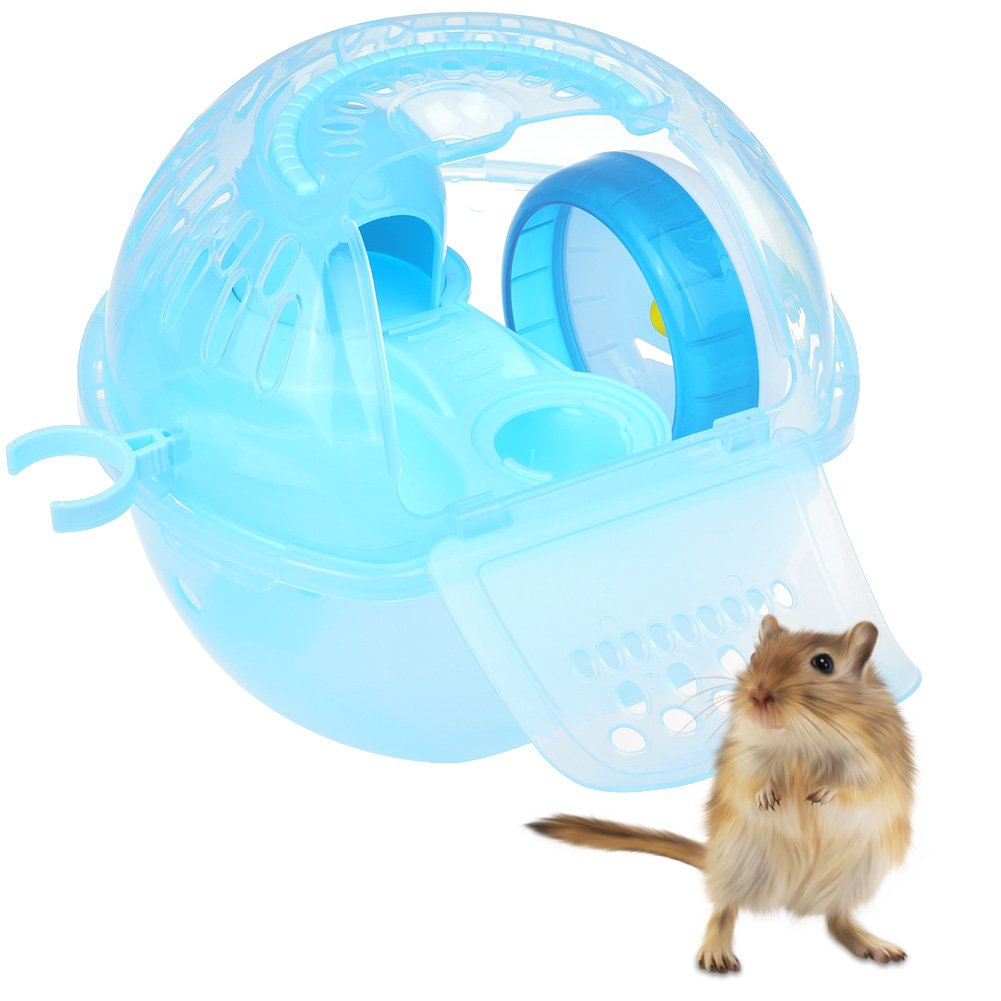 Petacc Portable Hamster Travel Carrier Practical Plastic Hamster Cage Durable Hamster Living Habitat House with Slide Design and Feeding Tank, Suitable for Hamster