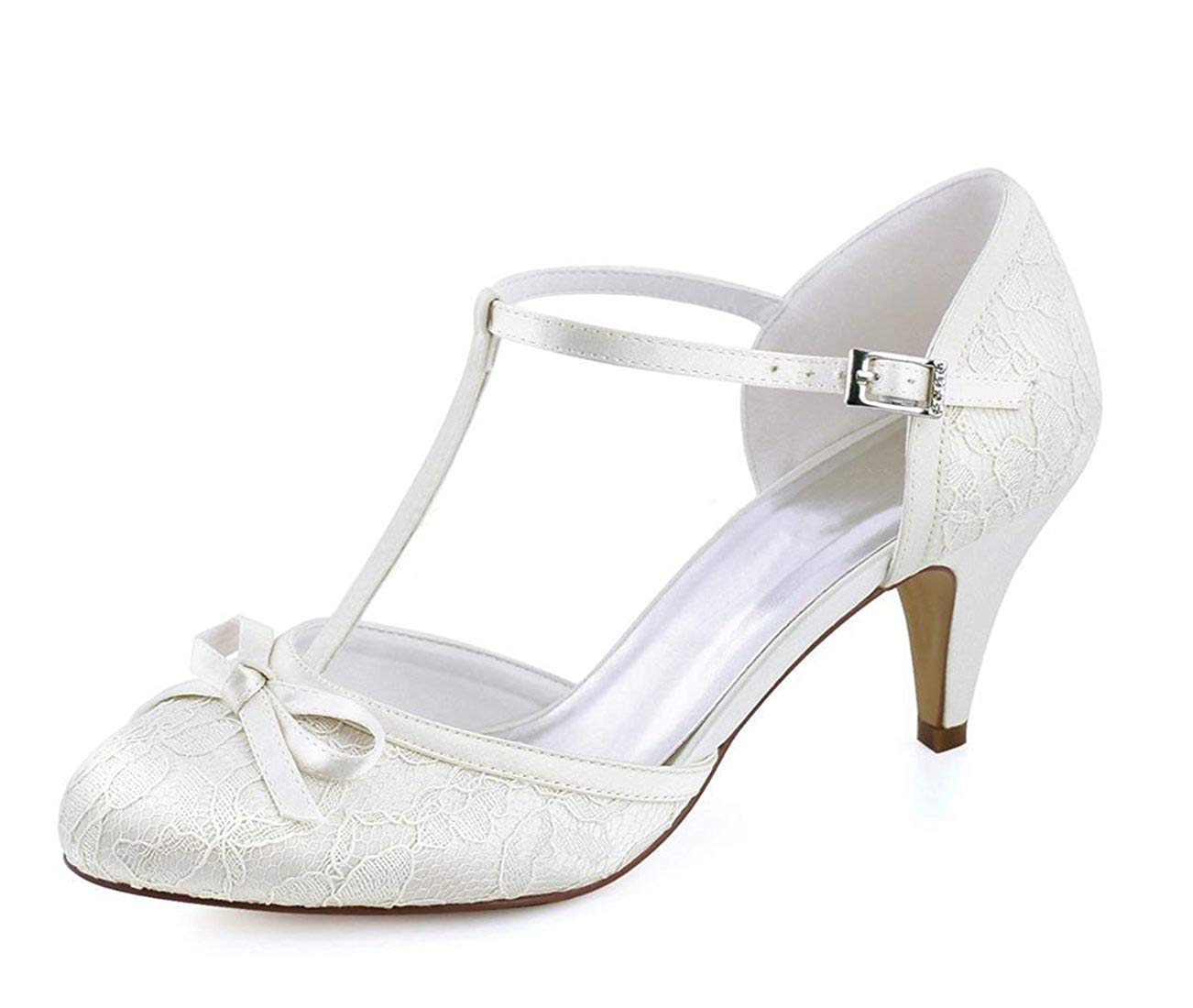 Qiusa Qiusa Qiusa Damen Knoten Retro Schöne Elfenbein Spitze Braut Hochzeit T-Strap Schuhe UK 2 (Farbe   - Größe   -) 96bf56