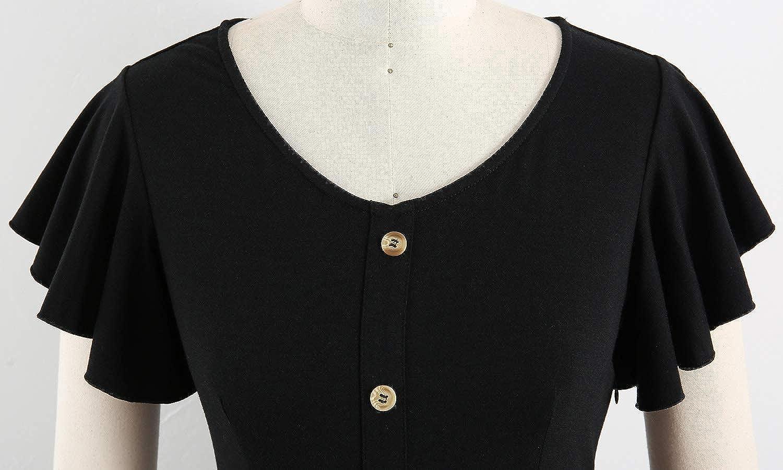 Lamilus Womens Summer Casual Ruffle Sleeve Button Down A-Line Swing Dress