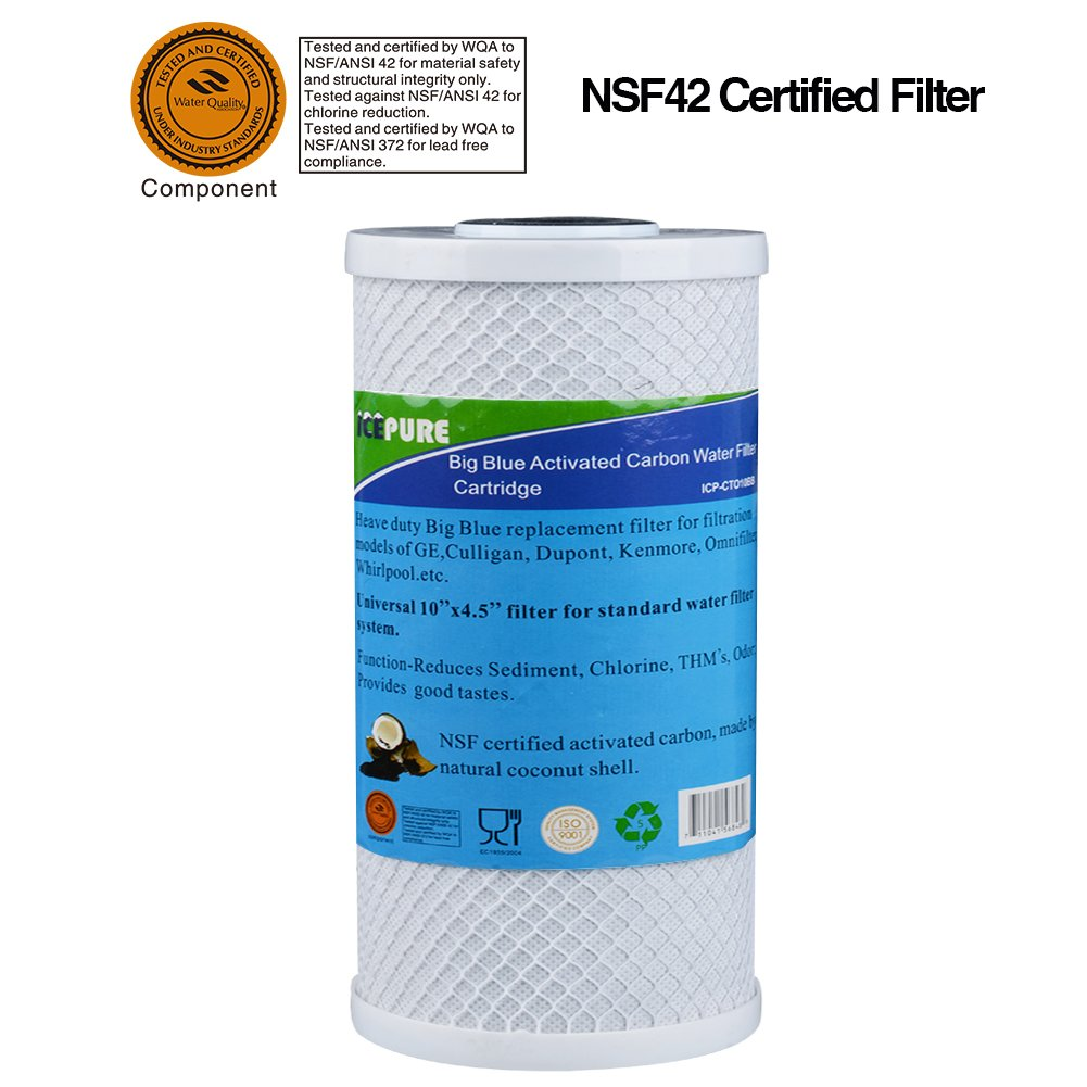 GOLDEN ICEPURE ICP-S-CTO10BB Whole house big blue activated carbon water filter compatible forPentair Pentek CBC series, EP series, EPM series, CCBC & CEP series,NSF certified Filter