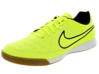 62e7726a2e1 Nike Men s Tiempo Genio Leather IC Volt Volt Hyper Punch Black Indoor Soccer
