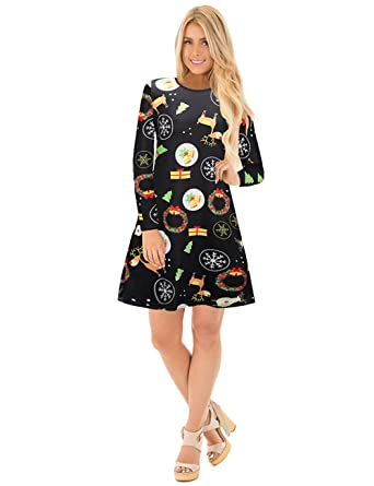 46a635e567b Ruiyige Women s Ugly Christmas Dress - Christmas Print - Black ...