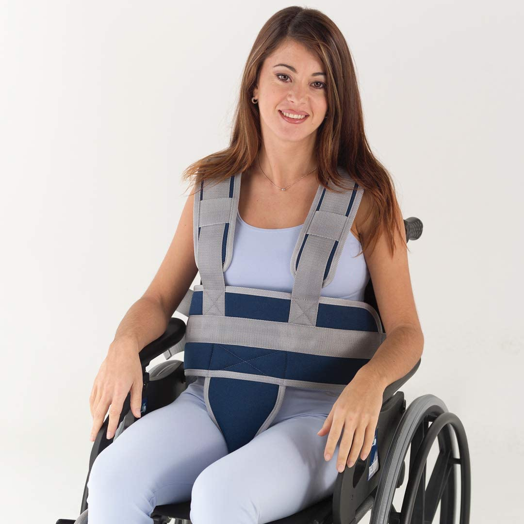 Adiggy Medical | Cinturón abdominal con sujeción de Tronco y Pelvis para silla de Ruedas o domicilio | Cierre clip para un rápido ajuste y colocación (Talla 0)