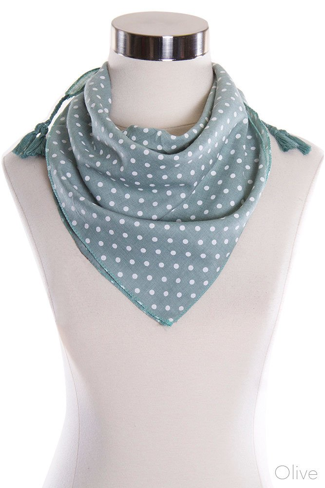ScarvesMe Polka Dot Pattern Fashion Bandana with Tassel Accent Scarf (Olive)