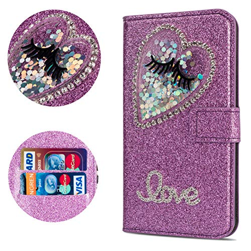 Stysen Flip Case for Galaxy A6 Plus 2018,Leather Cover with 3D Handmade Diamond Heart Sequins Glitter Shiny Wallet Magnetic Clasp for Samsung Galaxy A6 Plus 2018