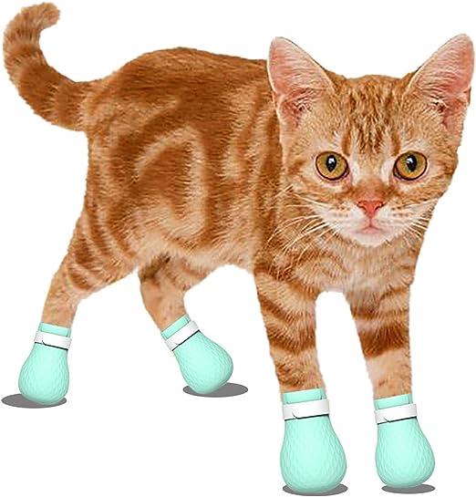 Funda para botas de gato antiarañazos, ajustable, suave, seguro, de gel de sílice verde, protector de pata de gato, para bañarse, barbería, recortar las uñas, comida, medicina, limpieza de oídos: Amazon.es: Productos