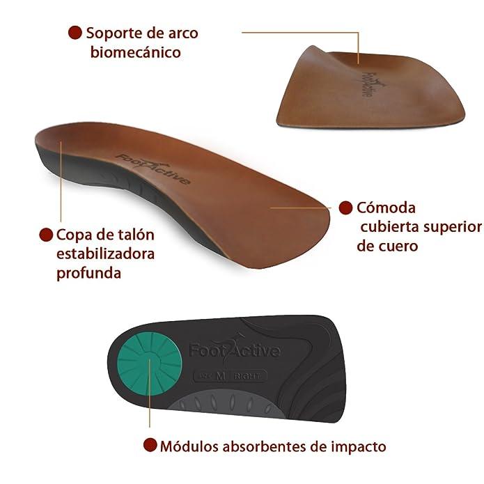 FootActive NATURE - Una suela de soporte del arco de longitud ¾ para aliviar la Fascitis Plantar, los dolores del talón, la rodilla y la espalda. S(39-41)