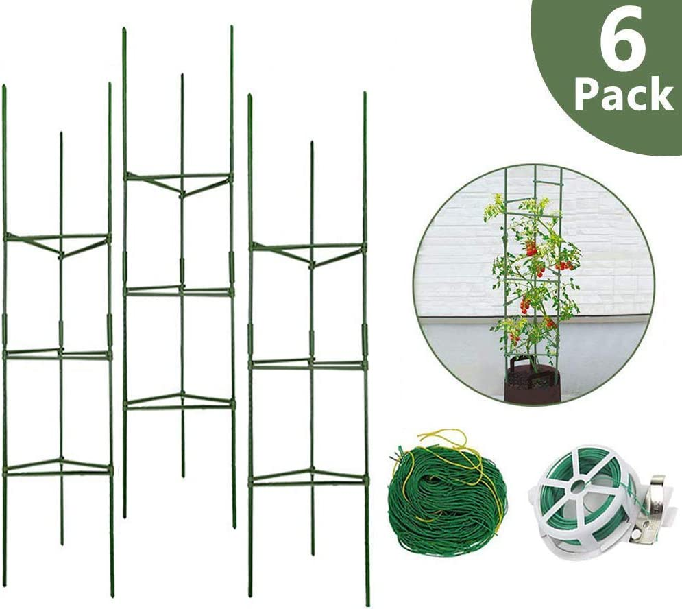 H ZT 6-Pack Tomato Cage Garden Plant Cages, w 1 Roll Wire Twist Tie, 1 Roll Nylon Trellis Netting, for Vertical Climbing Plants 6-Pack