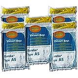 15 Eureka Upright AirSpeed (AS) Vacuum Cleaner Allergy Bags, 68155-6, 68155, 66655, 67726, Filtrete - 21-2440-06, 84404, Airspeed Pet Bagged, Air Speed Upright
