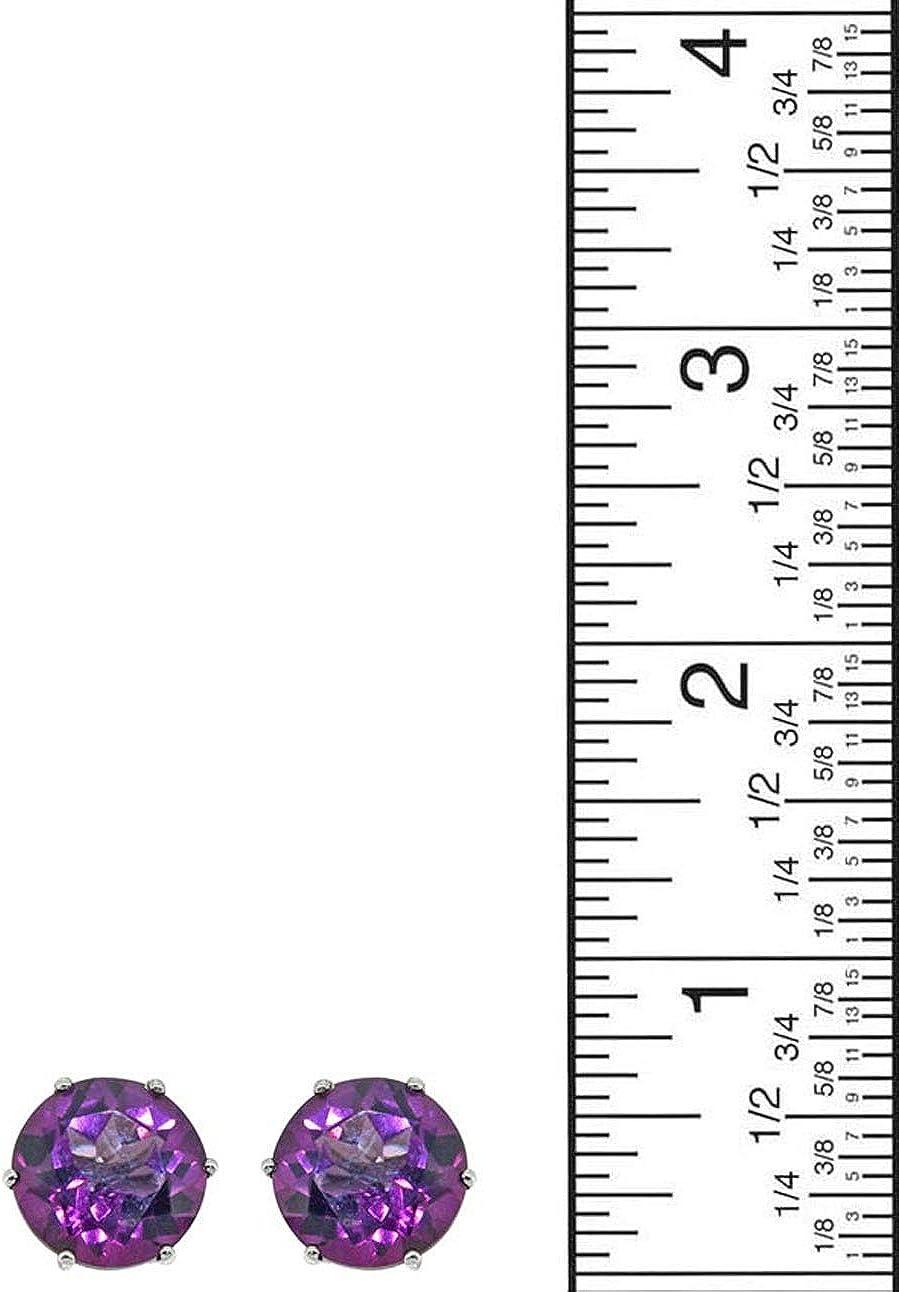 YoTreasure Coated Purple Topaz Stud Earrings Solid 925 Sterling Silver Jewelry