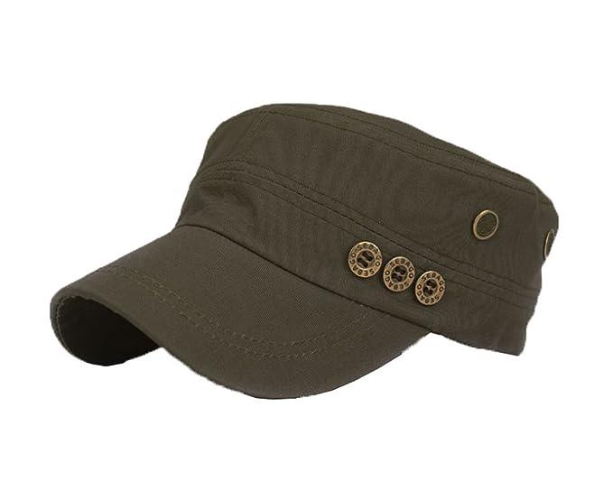 3f24394919a COMVIP Unisex Flat Top Cap Button Plain Adjustable Baseball Cap Army Green